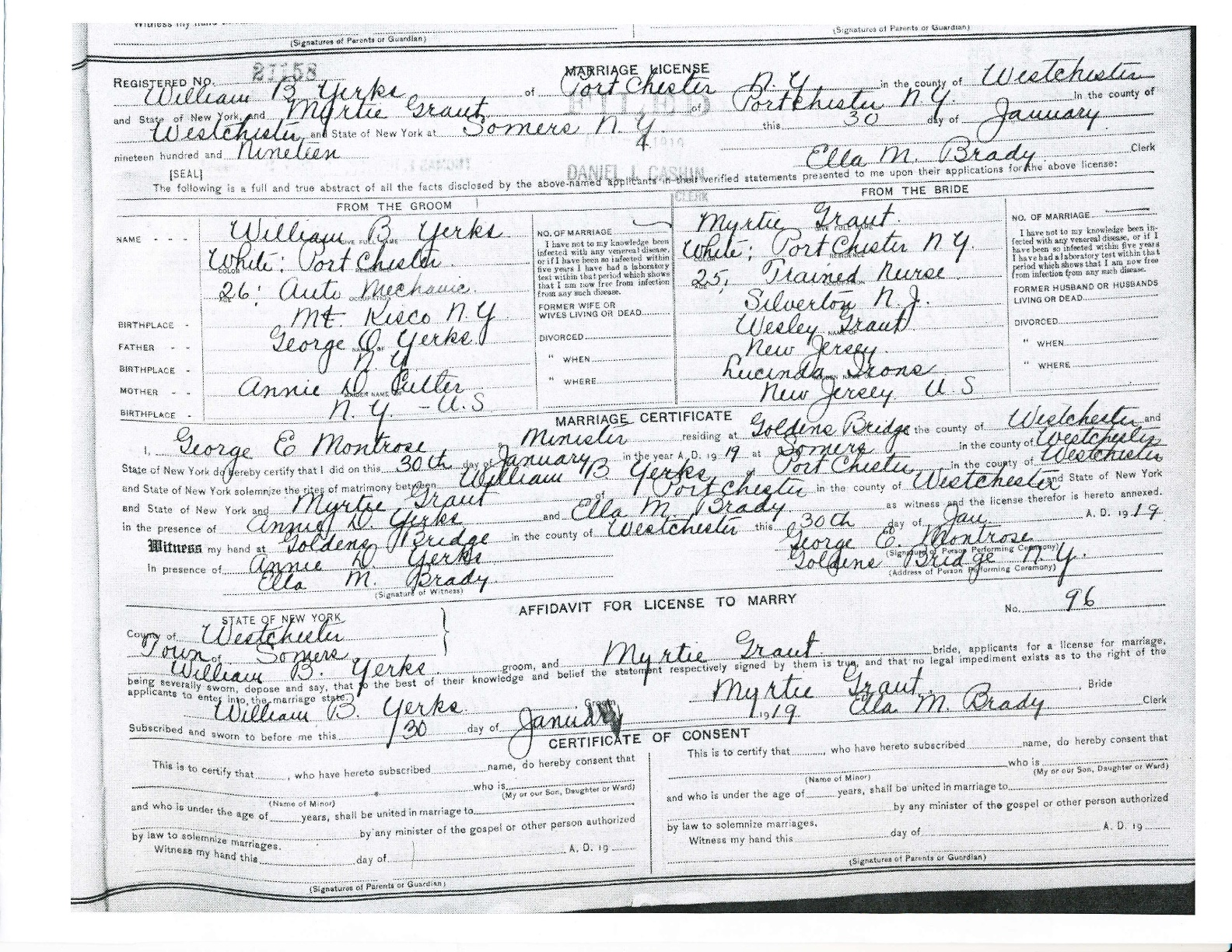 1919: Marriage License of William B Yerks & Myrtie Gant