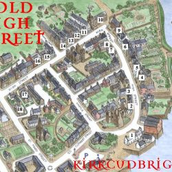 Map of Historic High Street in Kirkcudbright, Scotland