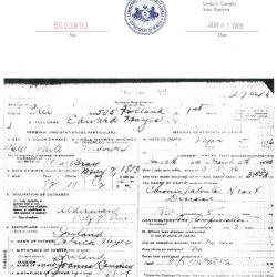 Erie Alderman Edward Hayes Death Certificate