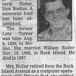 Obituary: Leta E Butler, 61, New Boston, Illinois