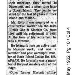 Obituary For Bert Palmer Record, 84