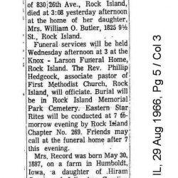 Obituary For Leta Smith Record, 79, of Rock Island, Illinois