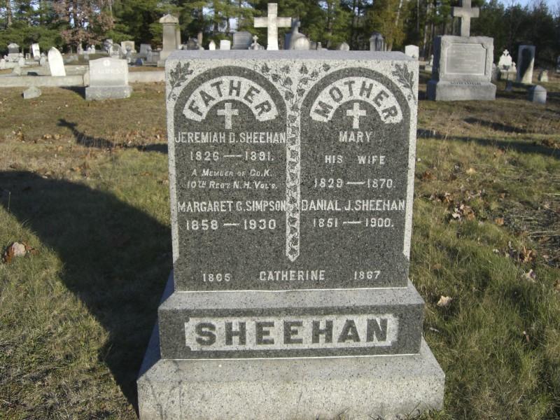 Sheehan Gravestone  at St Joseph's Cemetery in Manchester
