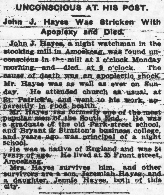 John J Hayes Found Unconscious