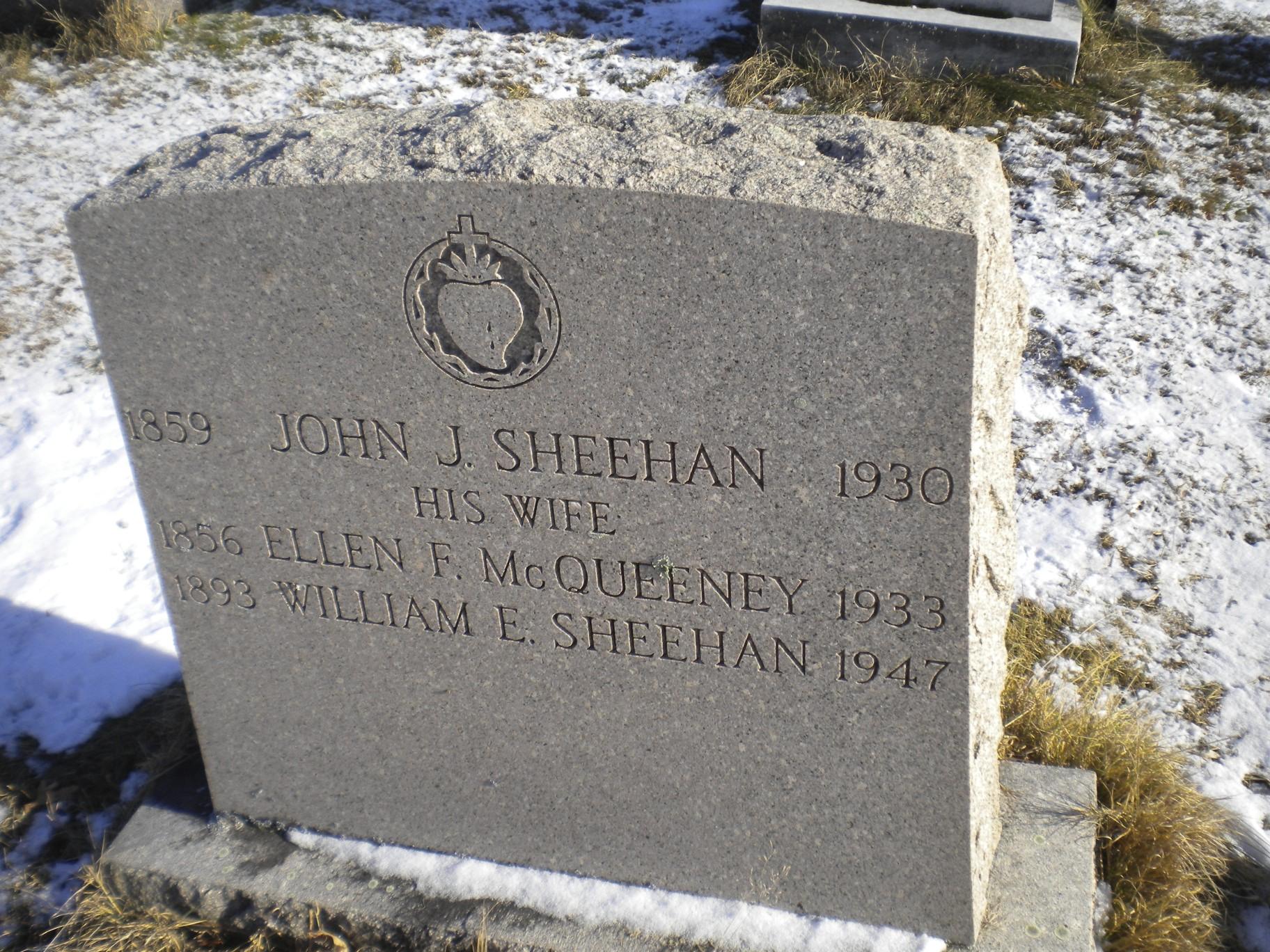 Sheehan Gravestone at St. Charles Cemetery in Blackstone, MA