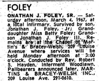 Obituary of Jonathan J Foley, Sr.