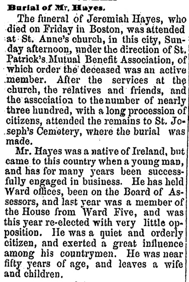 Jeremiah Hayes Burial